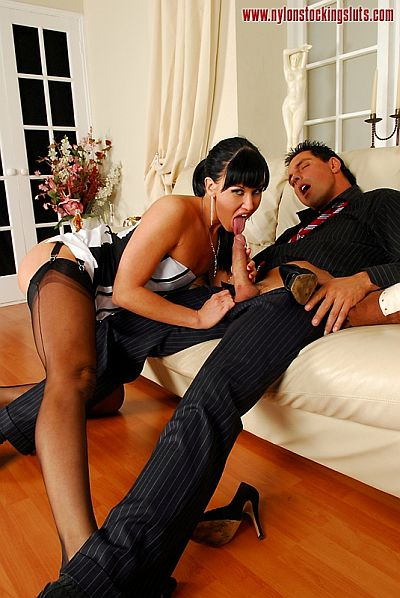 Lolly Badcock Sucking & Fucking In Black Nylon Stockings