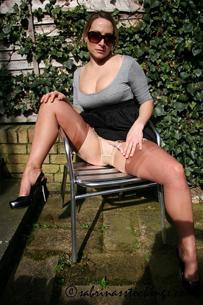 sabrina's stockings copper seamed nylons suspenders