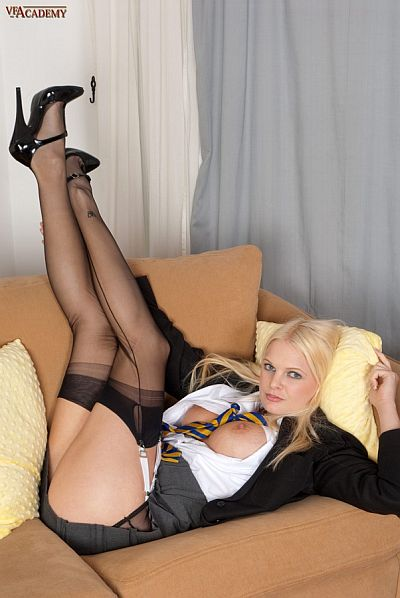 kelly fox sexy uniformed schoolgirl in black seamed nylon stockings and suspenders fingering her ass hole video