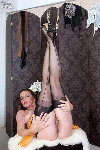 Marlyn Horny Mature Stocking and Suspender Slut Wanking In Black Seamed ...