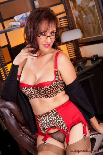 Hotwife Roni Masturbates In Leopard Print Lingerie Nylon Stockings and Red Suspenders Video At Ronis Paradise