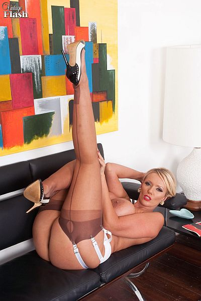 Lucy Zara Blonde Secretary Wanking In Nylon Stockings And Suspenders For The Boss Video At Vintage Flash