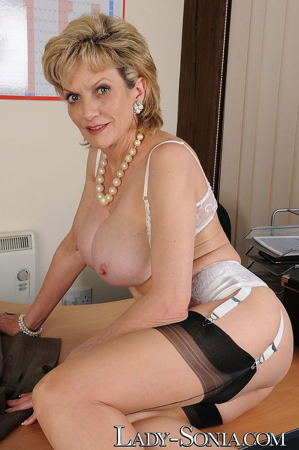 2015 Lady Sonia Busty Mature Secretary In Suspenders and Seamed Nylon Stockings