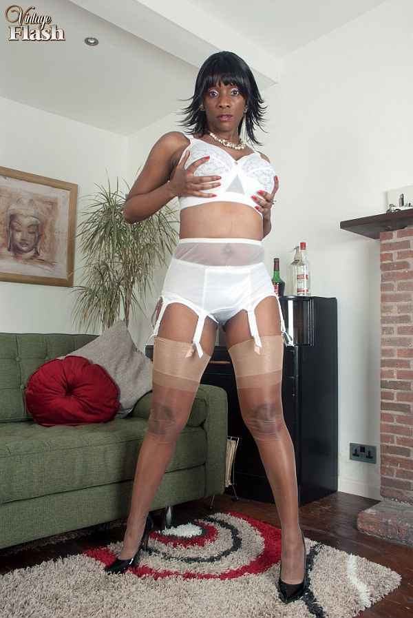 Horny Ebony Housewife With Big Boobs Masturbating In Silky Nylon Stockings And Suspenders