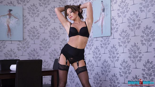 Natalia Forrest Stripteasing In Black Panties, Suspenders and Nylon Stockings Wank Video